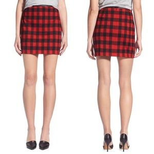Madewell Red Buffalo Plaid Mini Skirt